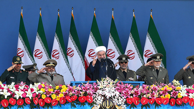 Iranian President Hassan Rouhani at a military parade in Tehran. (Photo: AP)