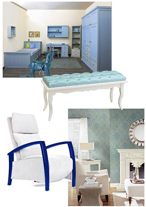 חדר שינה וספסל מעץ של רשת האוס אין, כורסא כחול-לבן וחדר שינה מעוצבים של עידן כורסאות וגולדשטיין גלרי טפט ()