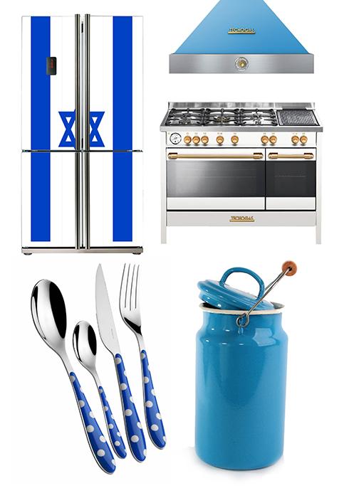 """מקרר דגל ישראל של מותג Teka, תנור גז כחול-לבן של מותג TECNOGAS, כלי אמייל של רשת SPICES ומערכת סכו""""ם של bugatti ()"""
