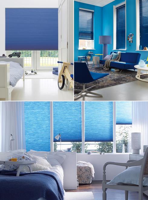 וילונות הצללה בכחול-לבן של חברת Orgon (צילום: אבי כהן) (צילום: אבי כהן)