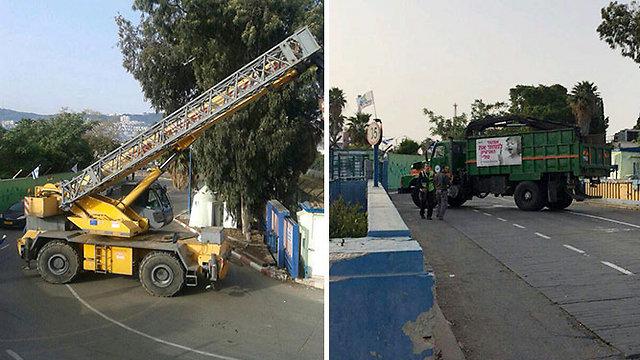 Crane and truck outside of refinery plant in Haifa. (Photo: Haifa Municipality Spokesman)