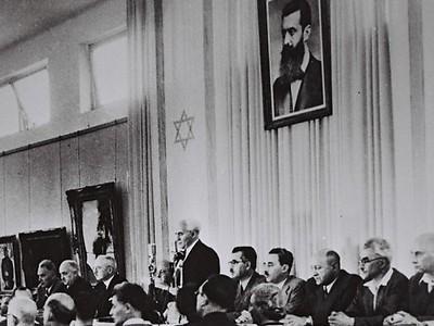David Ben-Gurion declares Israel's independence, May 14, 1948