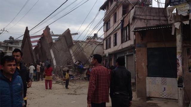 Collapsed buildings in Kathmandu.