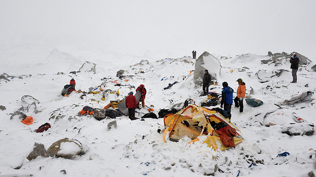 Everest Base Camp on Sunday, a day after an avalanche triggered by a massive earthquake devastated the camp (Photo: AFP) (Photo: AFP)
