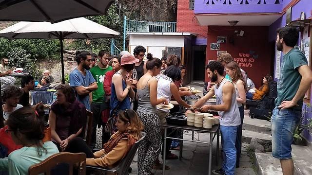 Israelis wait in Kathmandu  (Photo: Chabad)