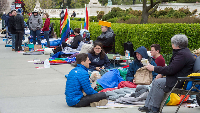 Campers waiting outside the US Supreme Court, before its deliberations on same-sex marriage. (Photo: AFP)