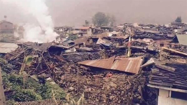 Entire communities are believed to have been destroyed in the earthquake in Nepal. (Photo from Twitter) (Photo from Twitter)