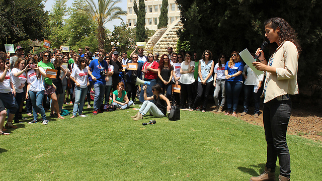 Efrat Jacob on campus after she exposed her lecturer for harassment. (Photo: Maayan Kofit)