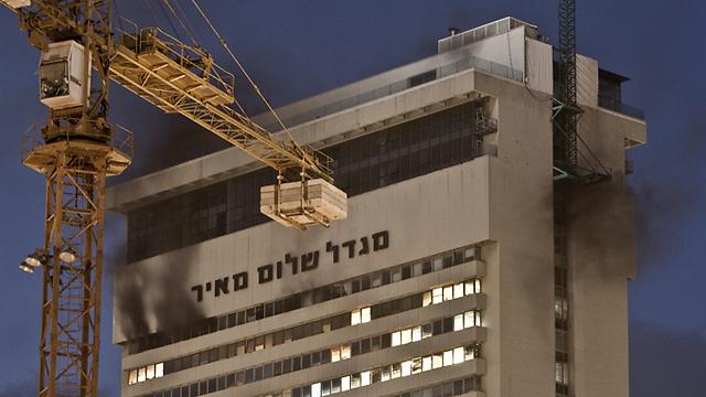 השריפה המפורסמת במגדל שלום לפני כ-4 שנים (צילום: שחר פרידמן) (צילום: שחר פרידמן)