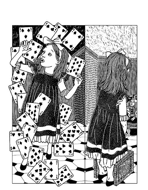 """""""אליס בארץ הפלאות"""" בגרסה של מודן. נגישה לילדים (איור: בתיה קולטון) (איור: בתיה קולטון)"""