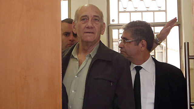 Olmert in court on Monday. (Photo: Gil Yohanon) (Photo: Gil Yohanon)