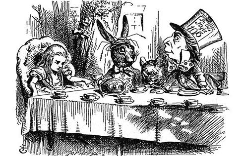 מסיבת התה באיור המקורי בשחור-לבן ()