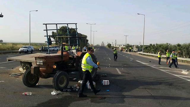 זירת התאונה במאי 2015 (צילום: דוברות משטרת ישראל) (צילום: דוברות משטרת ישראל)