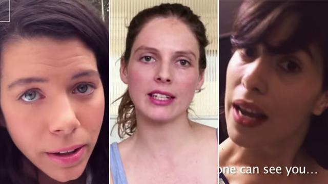 שלוש נשים שצילמו את עצמן במסגרת הקמפיין השנוי במחלוקת (צילום: מתוך יוטיוב)