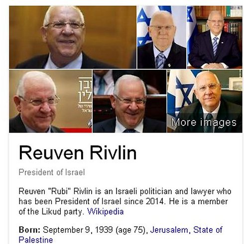 President Reuven Rivlin: Born in the State of Palestine.