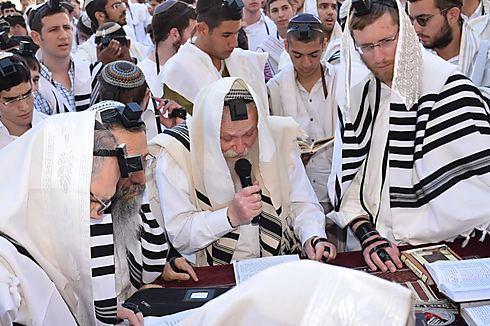 הרב דרוקמן מוביל, עם הרב רבינוביץ' ויצחק מאיר (צילום: שילה יגודה) (צילום: שילה יגודה)