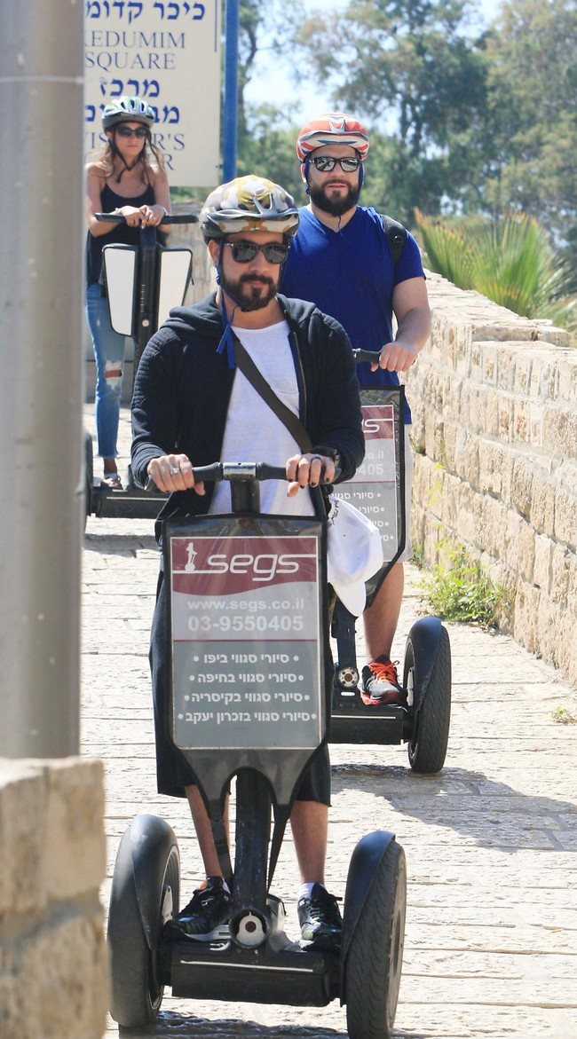 Backstreet Boys member AJ McLean on a segway in Tel Aviv (Photo: Moti Lavton)
