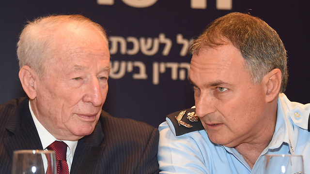 Police Chief Danino (right) with Attorney General Yehuda Weinstein at the Eilat conference. (Photo: Yair Shagai) (Photo: Yair Shagai)