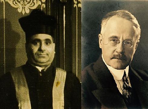 מימין: הכומר האציל ווילי ארנולד. משמאל: הרב הנודע מעתוק דאבי ()