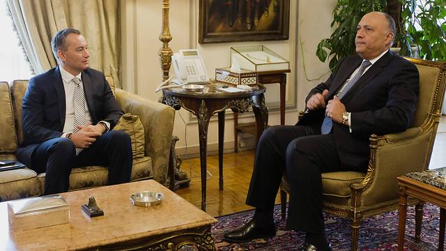 The Egyptian Foreign Minister with Middle East envoy Mladenov in Cairo. (Photo: AP) (Photo: AP)