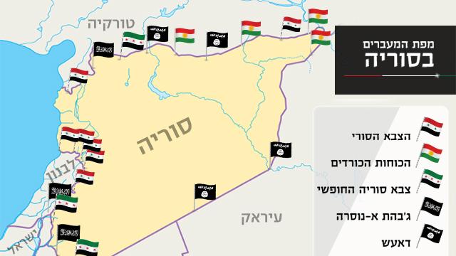 מפת המעברים בסוריה, כפי שפרסמה רשת RT ()