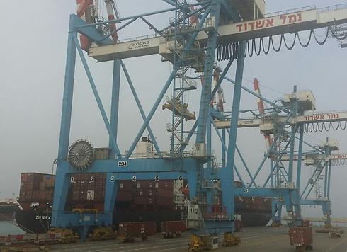 אוניות ממתינות בנמל אשדוד לפריקה הבוקר (צילום: אבי רוקח) (צילום: אבי רוקח)