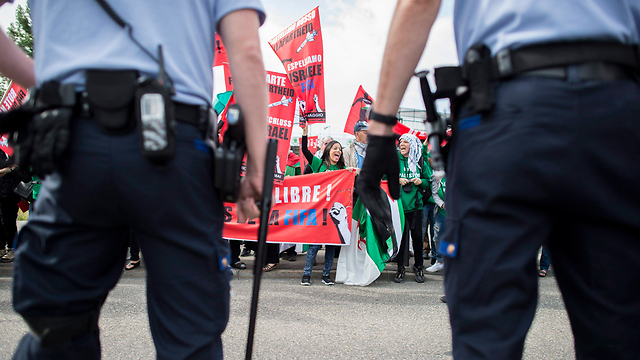 Protesters outside the FIFA Congress meeting. (Photo: EPA) (Photo: EPA)