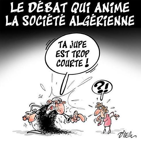 """דיון בחברה האלג'ירית. """"החצאית שלך קצרה מדי"""" (צילום: מתוך פייסבוק ) (צילום: מתוך פייסבוק )"""