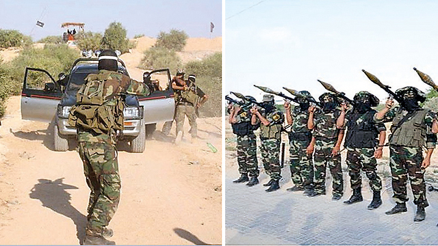 Hamas and Islamic Jihad fighters training in Gush Katif.