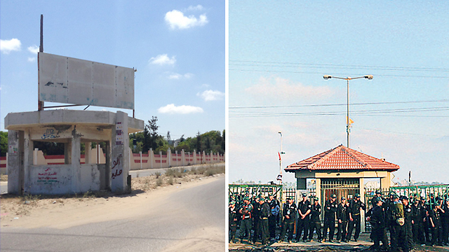 The security post at the entrance to Neve Dekalim - then (right) and now (Photos: Maurizio Molinari, Reuters)