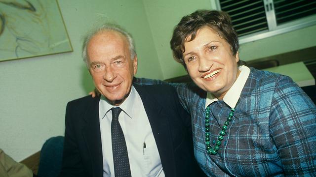 Arbeli-Almozlino with Labor leader and former prime minister Yitzhak Rabin (Photo: Shalom Bar-Tal)