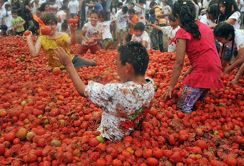 """ילדים משתתפים בקרב העגבניות שנערך מדי שנה בעיר סוטאמרצ'אן שבקולומביה ומוכר בשם """"טומאטינה"""" (צילום: AFP) (צילום: AFP)"""