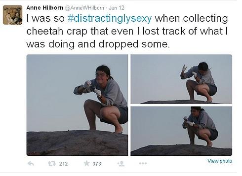 חוקרת אוספת גללים (צילום מסך מתוך טוויטר) (צילום מסך מתוך טוויטר)