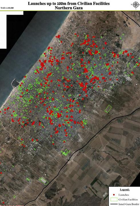 ריכוז של שיגורי רקטות במרחק של 100 מטר מריכוזי אוכלוסייה בעזה ()
