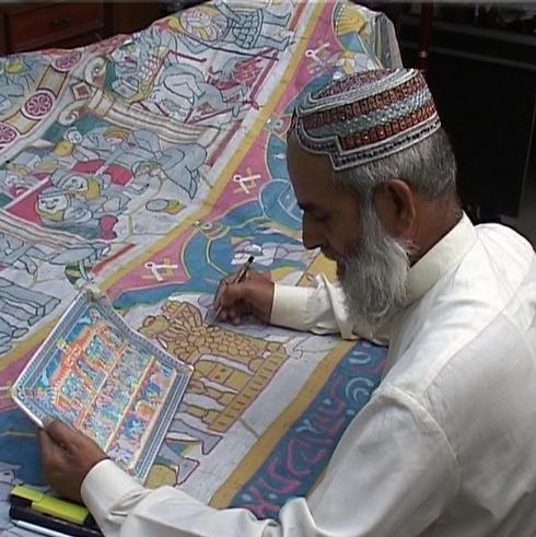 פועל אפגני מעתיק את אחד הדימויים הישראליים (באדיבות מוזיאון ישראל)