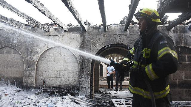 Scene of the arson (Photo: Avihu Shapira)