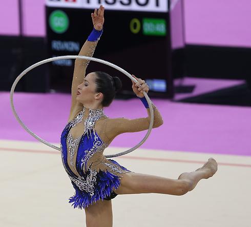 Gymnast Neta Rivkin peforming in the Solo Hoops event (Photo: Oren Aharoni)