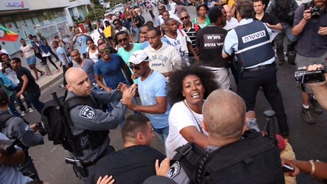 Ethopian Israelis protest against police brutality (Photo:Moti Kimchi)