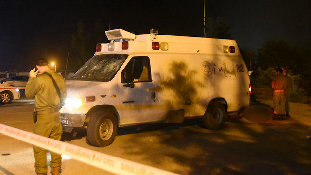 The ambulance that came under attack (Photo: Avihu Shapira)