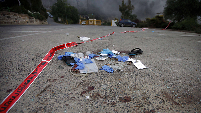 Evidence of Monday night's attack (Photo: AFP)