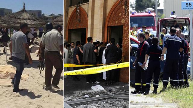 שלושה פיגועים, שלוש יבשות. מימין לשמאל: הפיגוע בצרפת, בכוויית ובתוניסיה (צילום: AFP, AP) (צילום: AFP, AP)