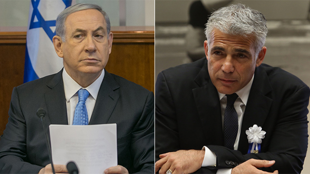 Benjamin Netanyahu and Yair Lapid (Photo: Ohan Zwigenberg and Gil Yohanan)