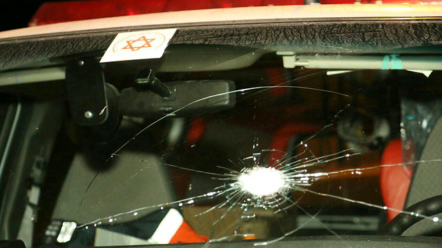 Magen David Adom ambulance fired upon in West Bank (Photo: Tazpit News Agency)