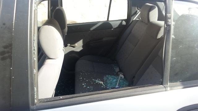 Yochanan Gol's damaged car (Photo: Courtesy)