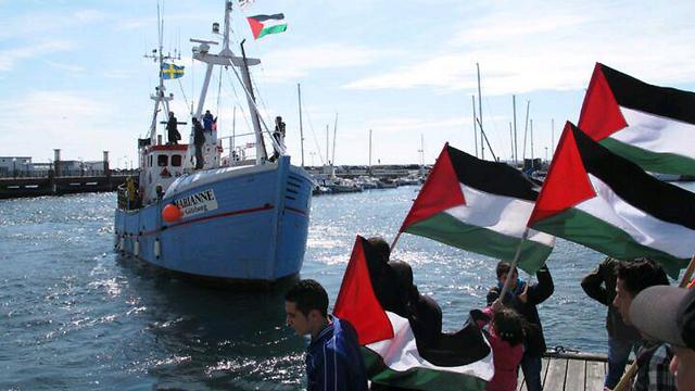The flotilla on its way to Gaza.