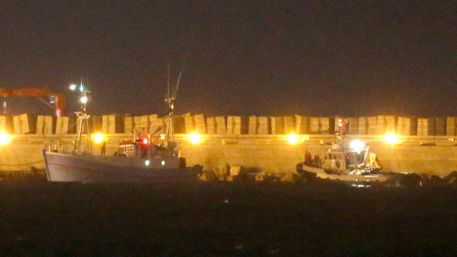 The 'Marianne' being led into the Ashdod port (Photo: EPA)