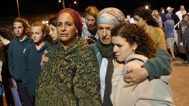 Women at the protest near Shvut Rachel (Photo: Alex Kolomoisky)