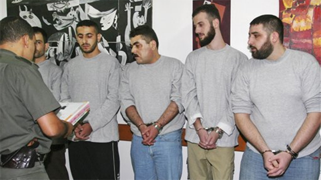 The Hezbollah prisoners released in the deal - with Samir Kuntar in the middle (Photo: AP)