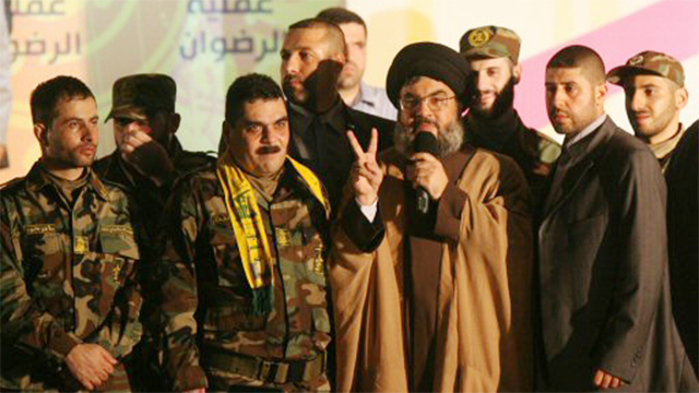 Kuntar with Hezbollah leader Nasrallah after being freed in the prisoner exchange swap in 2008 (Photo: AFP)