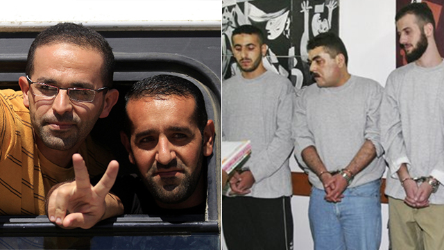Samir Kuntar being released, middle of right picture; Palestinian prisoners being released during Gilad Shalit deal, left picture (Photo: AP) (Photo: AP)